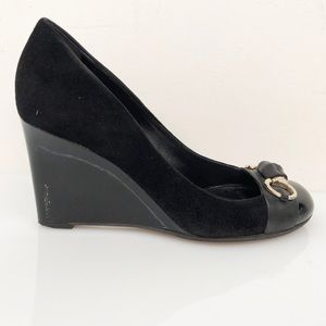 Gucci Black Suede Wedges